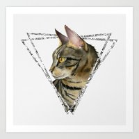 Tabby Cat Painting with Triangle Frame 2 Art Print