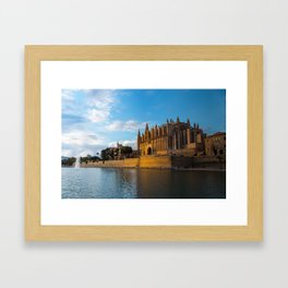Day to night on Cathedral of Palma de Mallorca Framed Art Print