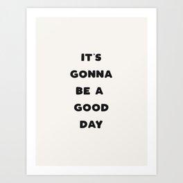 Good Day - Black & Cream Art Print