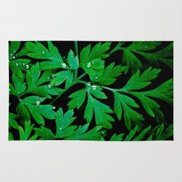 Dark Green Leaves Rug
