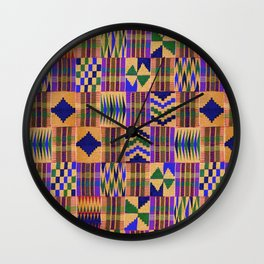 Kente Cloth // Anzac Yellow & Persian Blue Wall Clock