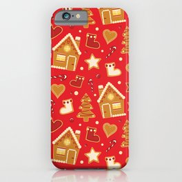 Christmas gingerbread house pattern red iPhone Case