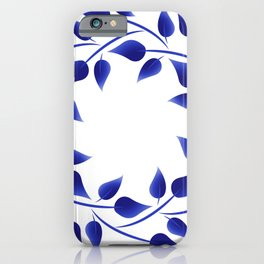 Blue leaf weave iPhone Case