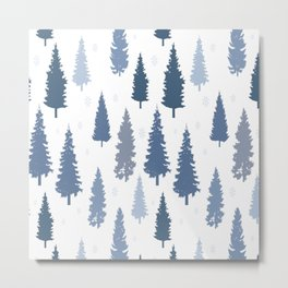 Pines and snowflakes pattern Metal Print