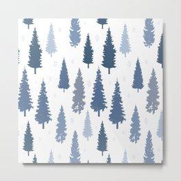 Pines and snowflakes pattern Metal Print