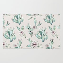 Pretty Cactus Rose Pattern Pale Pink + Green Rug