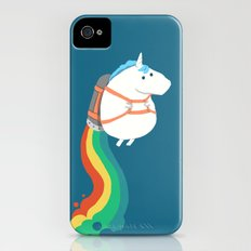 Fat Unicorn on Rainbow Jetpack iPhone (4, 4s) Slim Case