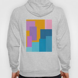 Happy Color Block Geometrics in Yellow, Blue, Purple, and Pink Hoody