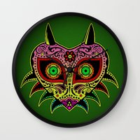 majoras mask Wall Clocks featuring Sugarskull / Majoras mask /color by tshirtsz