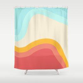 Retro Rainbow Swirls Shower Curtain