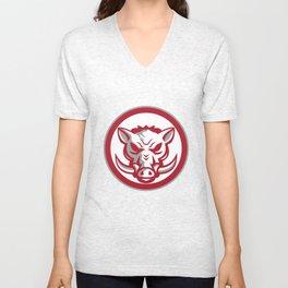 Wild Boar Razorback Head Angry Circle Retro Unisex V-Neck