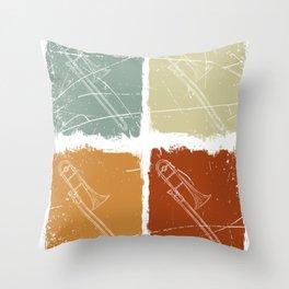 Retro Color Trombone Throw Pillow