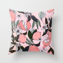 Flowering in the pink oranges Throw Pillow