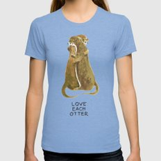 Love each otter SMALL Tri-Blue Womens Fitted Tee
