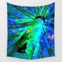 howl Wall Tapestries featuring howl blue moon by blCub