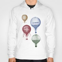 hot air balloons Hoodies featuring Colorful Hot Air Balloons by Zen and Chic