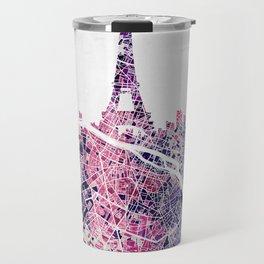 Paris Skyline + Map #1 Travel Mug
