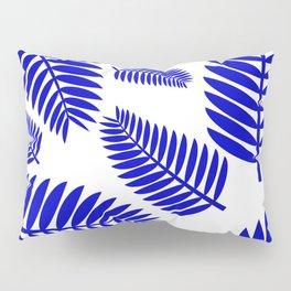 Blue Leaves Ferns Pattern Pillow Sham