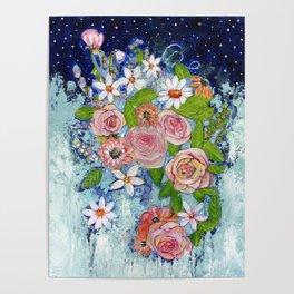Celestial Sky Flower Garden Poster
