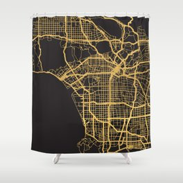 LOS ANGELES CALIFORNIA GOLD ON BLACK CITY MAP Shower Curtain
