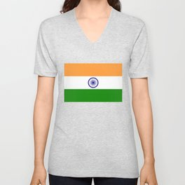 National flag of India - Authentic version to scale and color Unisex V-Neck