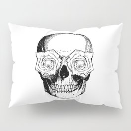 Skull and Roses | Black and White Pillow Sham