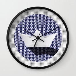 Origami boat japanese pattern Wall Clock