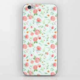 Mint & Peach Floral iPhone Skin