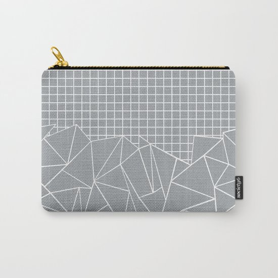 Abstract Outline Grid Grey Carry-All Pouch