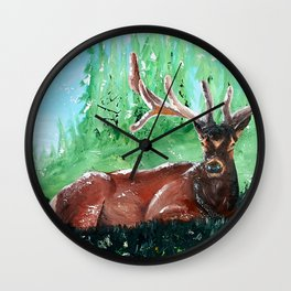 """Deer - Animal - """"Time to relax"""" - by LiliFlore Wall Clock"""