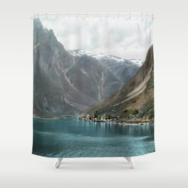 Village by the Lake & Mountains Shower Curtain