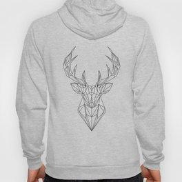 Black And White Geometric Stag - Deer Antlers Hoody