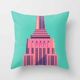 Empire State Building New York Art Deco - Green Throw Pillow