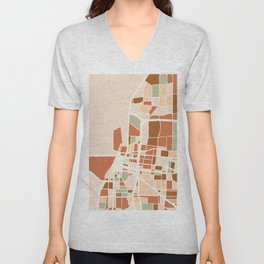 MEMPHIS TENNESSEE CITY MAP EARTH TONES Unisex V-Neck