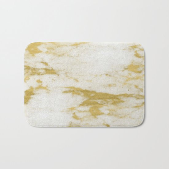 Marble - Shimmery Gold Marble and White Bath Mat