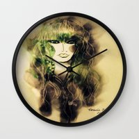 emerald Wall Clocks featuring Emerald by Cornelia Baciu
