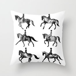 Dressage Horse Silhouettes Throw Pillow