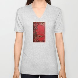 Red and Gold Thistles Unisex V-Neck