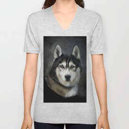 Husky Dog Portrait Painting Unisex V-Neck