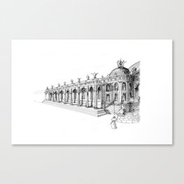 Temple . XVIII Century. Drawing by Tereza Del Pilar Canvas Print