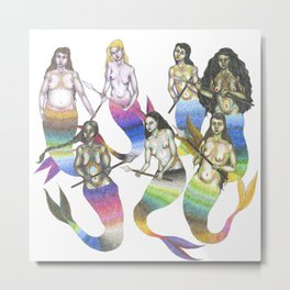 mermaids with spears Metal Print