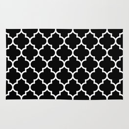 White Moroccan Quatrefoil On Darkest Black Rug