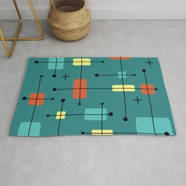 Rounded Rectangles Squares Teal Rug
