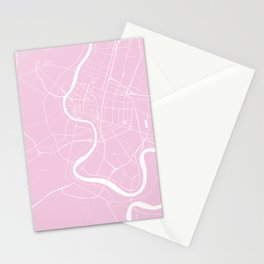 Bangkok Thailand Minimal Street Map - Pastel Pink and White Stationery Cards