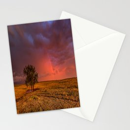 Fire Within - Red Sky and Rainbow Over Lone Tree on Great Plains Stationery Cards