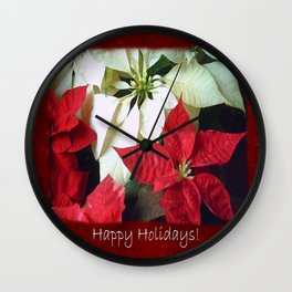 Mixed Color Poinsettias 2 Happy Holidays P5F5 Wall Clock