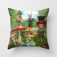 concert Throw Pillows featuring Night Concert by Simone Gatterwe