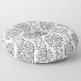 Gray white Damask ornament . Floor Pillow