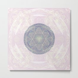 Mandala Pattern in Pastel Pink and Lilac Metal Print