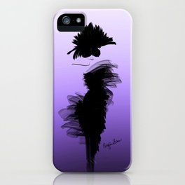 Fashion model in little black dress and violet iPhone Case